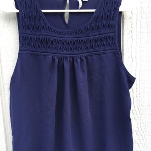 Sleeveless Navy Elle Blouse with Detail Front